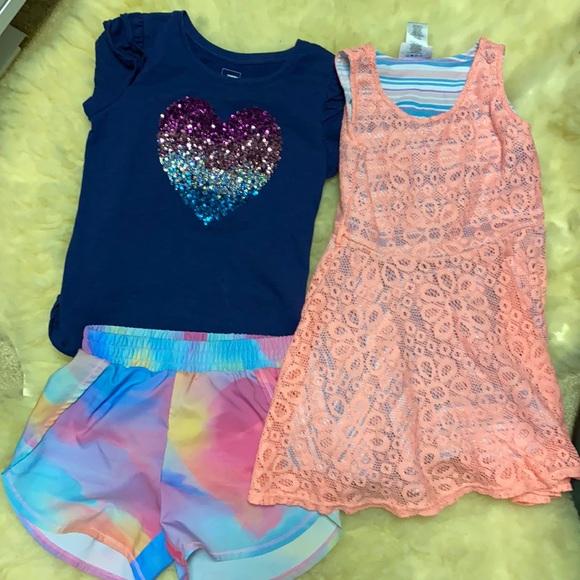 Girls size 6 lot T-shirt Tie Dye shorts Lace dress